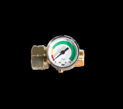 Afbeeldingen van Stop gas met manometer, doorstroombegrenzer en thermische beveiliging