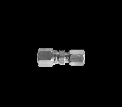 Afbeeldingen van Rechte knelkoppeling 1 x 8mm- 1 x 6mm staal