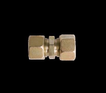 Afbeeldingen van Rechte knelkoppeling 2 x 15mm staal