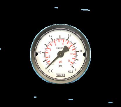"Picture of Manometer blank 0-1 bar 50mm achteraansluiting 1/4"""